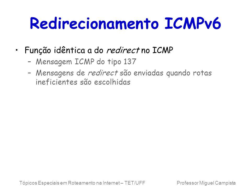 Tópicos Especiais em Roteamento na Internet – TET/UFF Professor Miguel Campista Redirecionamento ICMPv6 Função idêntica a do redirect no ICMP –Mensagem ICMP do tipo 137 –Mensagens de redirect são enviadas quando rotas ineficientes são escolhidas
