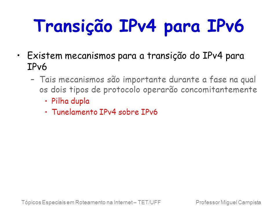 Tópicos Especiais em Roteamento na Internet – TET/UFF Professor Miguel Campista Transição IPv4 para IPv6 Existem mecanismos para a transição do IPv4 para IPv6 –Tais mecanismos são importante durante a fase na qual os dois tipos de protocolo operarão concomitantemente Pilha dupla Tunelamento IPv4 sobre IPv6