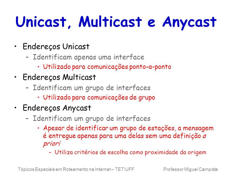 Tópicos Especiais em Roteamento na Internet – TET/UFF Professor Miguel Campista Unicast, Multicast e Anycast Endereços Unicast –Identificam apenas uma interface Utilizado para comunicações ponto-a-ponto Endereços Multicast –Identificam um grupo de interfaces Utilizado para comunicações de grupo Endereços Anycast –Identificam um grupo de interfaces Apesar de identificar um grupo de estações, a mensagem é entregue apenas para uma delas sem uma definição a priori –Utiliza critérios de escolha como proximidade da origem