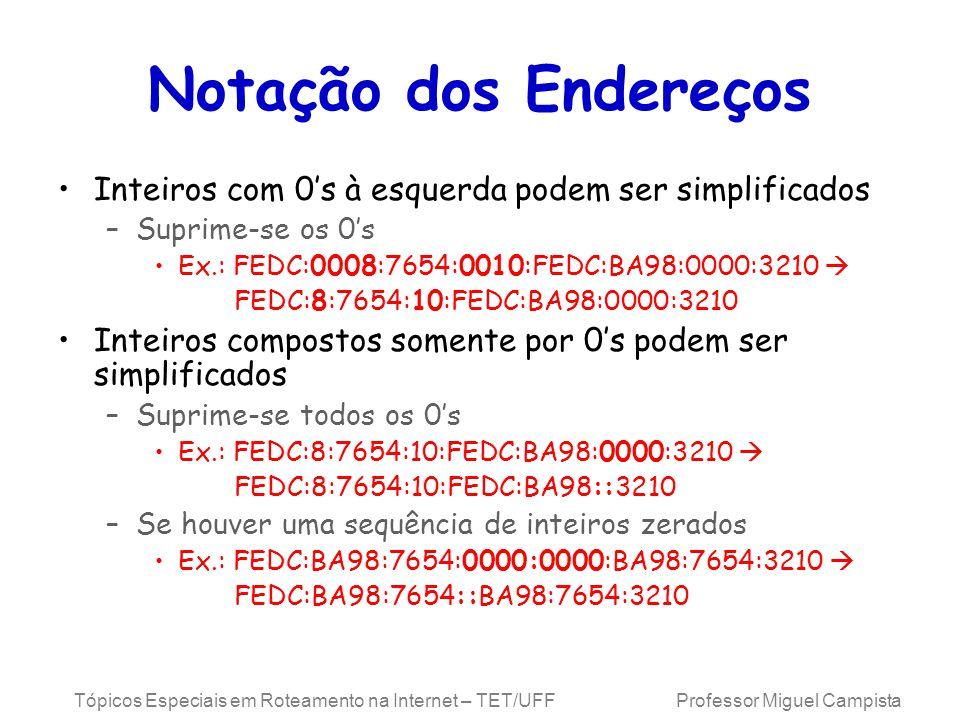 Tópicos Especiais em Roteamento na Internet – TET/UFF Professor Miguel Campista Notação dos Endereços Inteiros com 0s à esquerda podem ser simplificados –Suprime-se os 0s Ex.: FEDC:0008:7654:0010:FEDC:BA98:0000:3210 FEDC:8:7654:10:FEDC:BA98:0000:3210 Inteiros compostos somente por 0s podem ser simplificados –Suprime-se todos os 0s Ex.: FEDC:8:7654:10:FEDC:BA98:0000:3210 FEDC:8:7654:10:FEDC:BA98::3210 –Se houver uma sequência de inteiros zerados Ex.: FEDC:BA98:7654:0000:0000:BA98:7654:3210 FEDC:BA98:7654::BA98:7654:3210