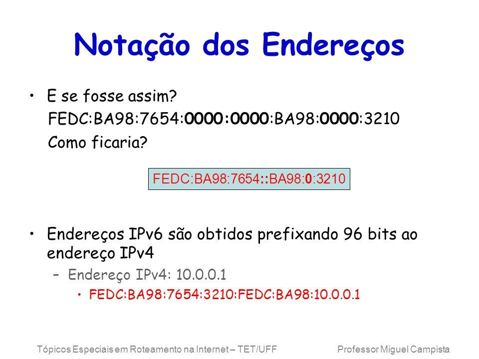 Tópicos Especiais em Roteamento na Internet – TET/UFF Professor Miguel Campista Notação dos Endereços E se fosse assim.