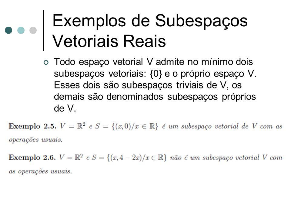 Exemplos de Subespaços Vetoriais Reais Todo espaço vetorial V admite no mínimo dois subespaços vetoriais: {0} e o próprio espaço V. Esses dois são sub
