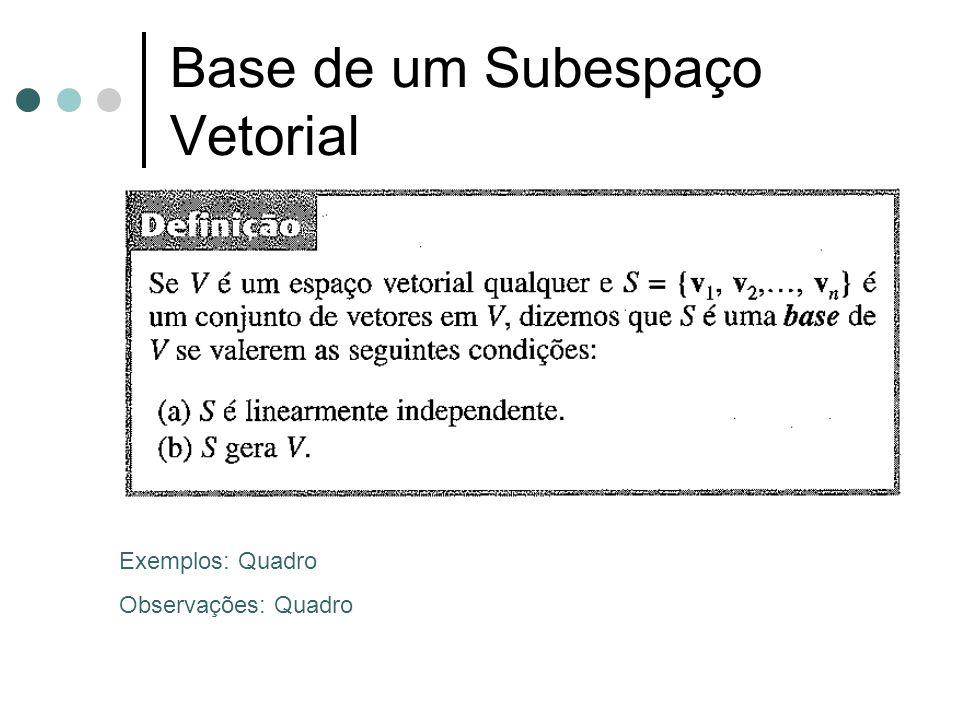 Base de um Subespaço Vetorial Exemplos: Quadro Observações: Quadro