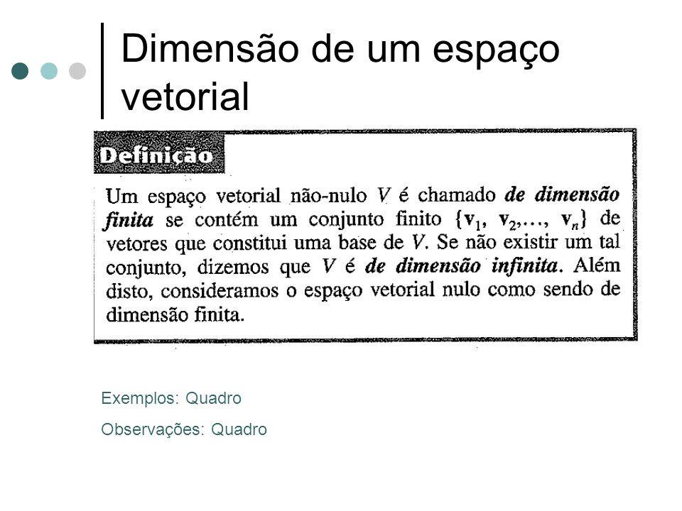 Dimensão de um espaço vetorial Exemplos: Quadro Observações: Quadro