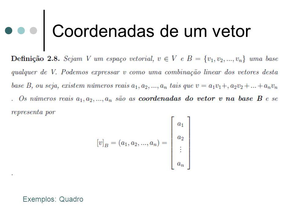 Coordenadas de um vetor Exemplos: Quadro