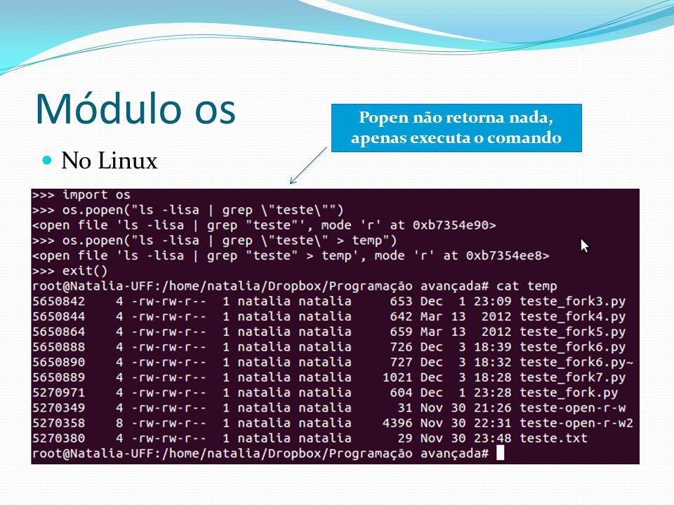Módulo os No Linux Popen não retorna nada, apenas executa o comando