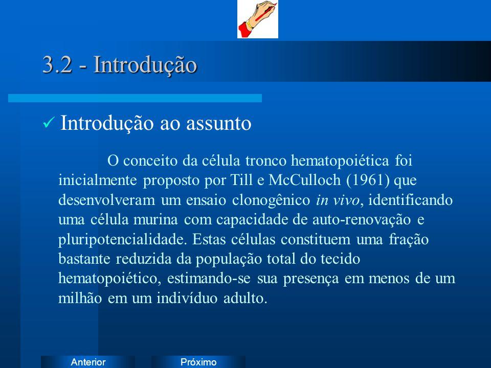 PróximoAnterior 3.2 - Introdução Introdução ao assunto O conceito da célula tronco hematopoiética foi inicialmente proposto por Till e McCulloch (1961) que desenvolveram um ensaio clonogênico in vivo, identificando uma célula murina com capacidade de auto-renovação e pluripotencialidade.