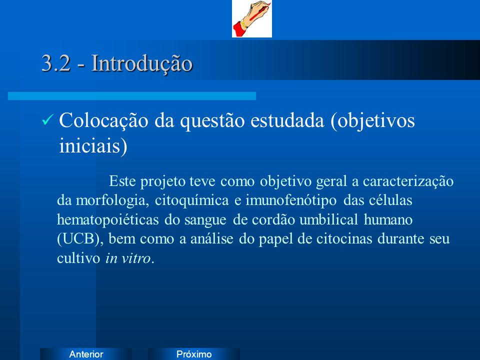 PróximoAnterior 3.2 - Introdução Colocação da questão estudada (objetivos iniciais) Este projeto teve como objetivo geral a caracterização da morfolog