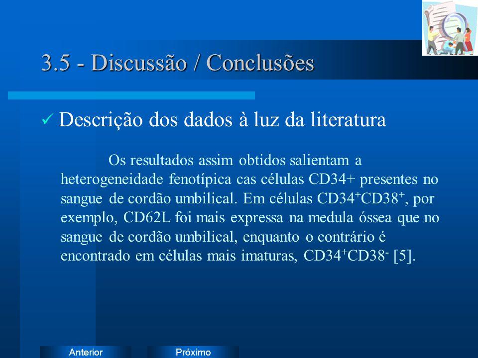 PróximoAnterior 3.5 - Discussão / Conclusões Descrição dos dados à luz da literatura Os resultados assim obtidos salientam a heterogeneidade fenotípica cas células CD34+ presentes no sangue de cordão umbilical.