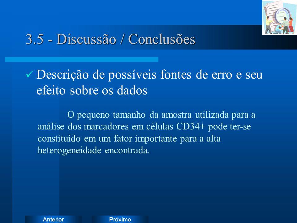 PróximoAnterior 3.5 - Discussão / Conclusões Descrição de possíveis fontes de erro e seu efeito sobre os dados O pequeno tamanho da amostra utilizada