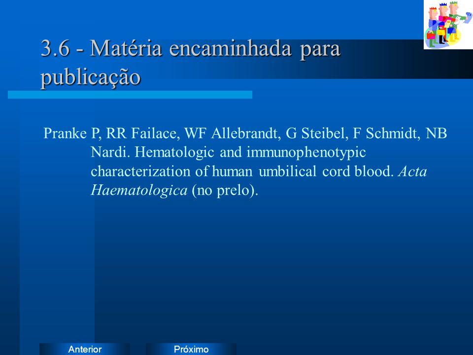 PróximoAnterior 3.6 - Matéria encaminhada para publicação Pranke P, RR Failace, WF Allebrandt, G Steibel, F Schmidt, NB Nardi. Hematologic and immunop