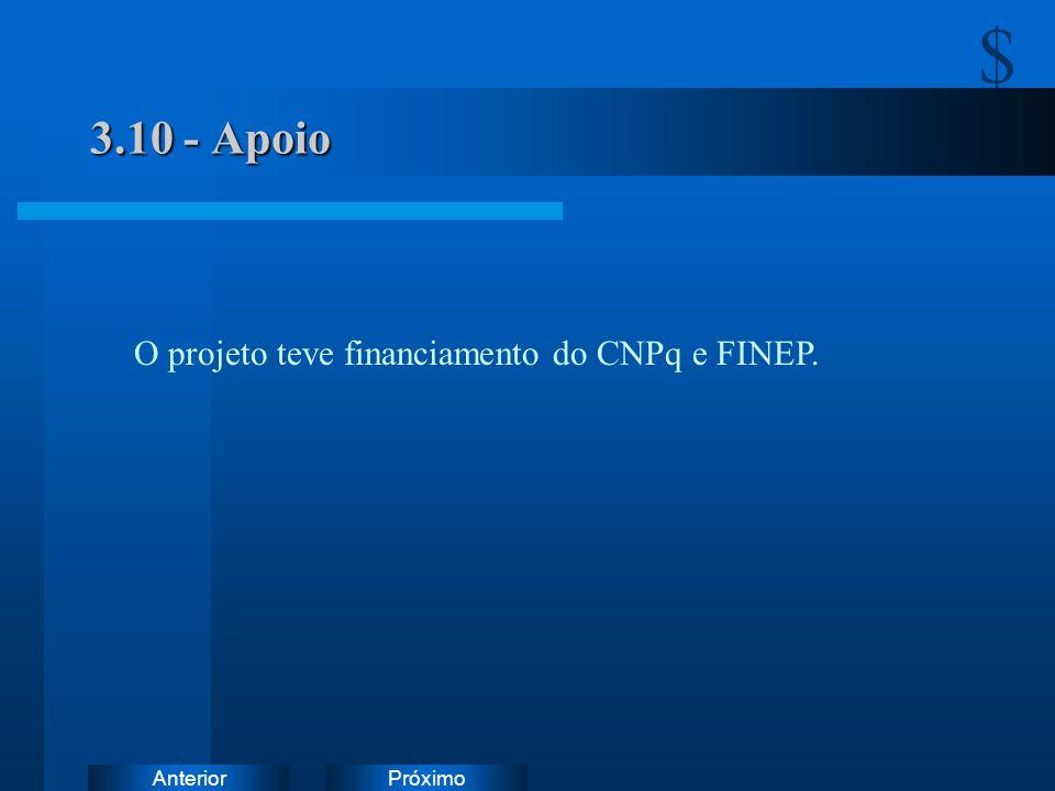 PróximoAnterior 3.10 - Apoio O projeto teve financiamento do CNPq e FINEP. $.$.