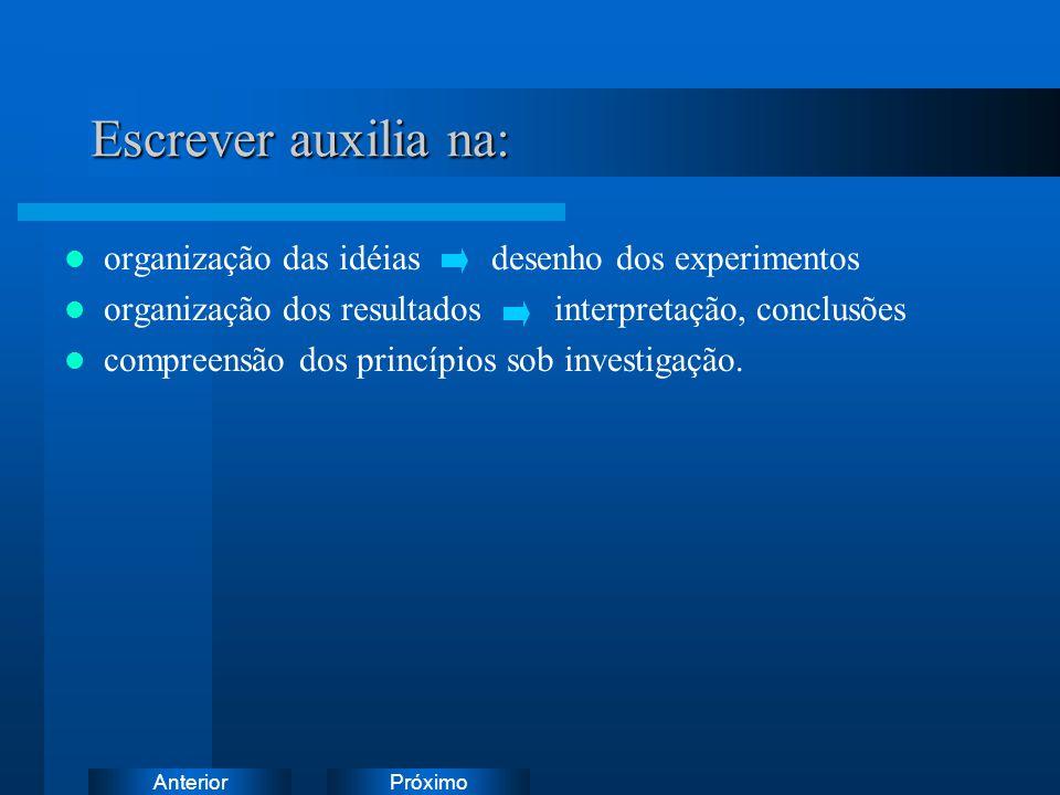 PróximoAnterior Escrever auxilia na: organização das idéias desenho dos experimentos organização dos resultados interpretação, conclusões compreensão