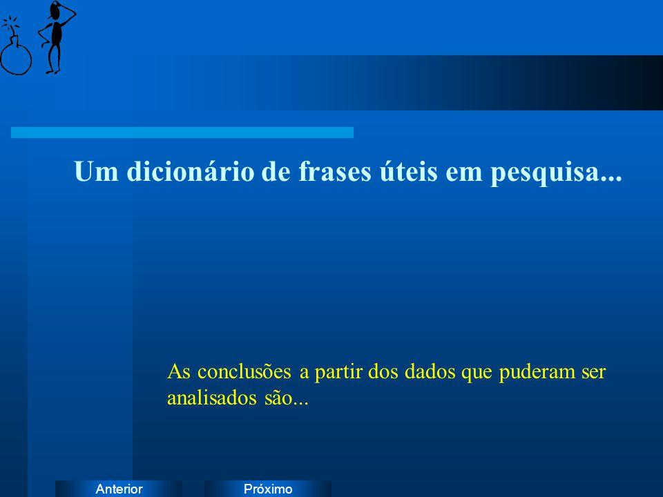 PróximoAnterior Um dicionário de frases úteis em pesquisa... As conclusões a partir dos dados que puderam ser analisados são...