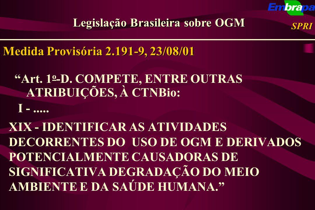 Medida Provisória 2.191-9, 23/08/01 Art. 1 o -D. COMPETE, ENTRE OUTRAS ATRIBUIÇÕES, À CTNBio: I -..... XIX - IDENTIFICAR AS ATIVIDADES DECORRENTES DO