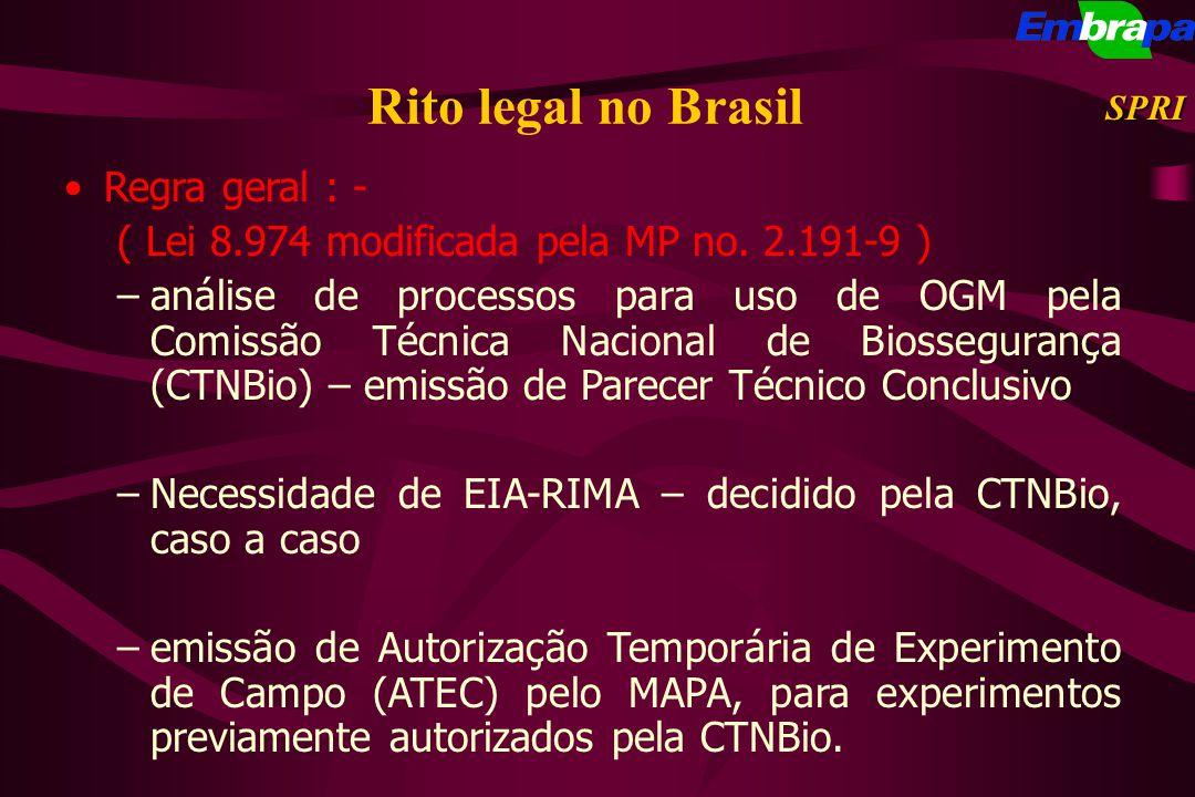Rito legal no Brasil Regra geral : - ( Lei 8.974 modificada pela MP no. 2.191-9 ) –análise de processos para uso de OGM pela Comissão Técnica Nacional