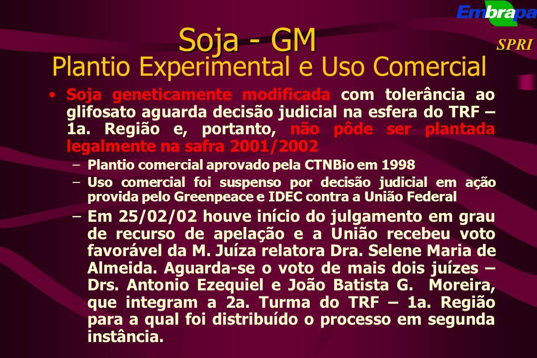 Plantio Experimental e Uso Comercial Soja geneticamente modificada com tolerância ao glifosato aguarda decisão judicial na esfera do TRF – 1a. Região