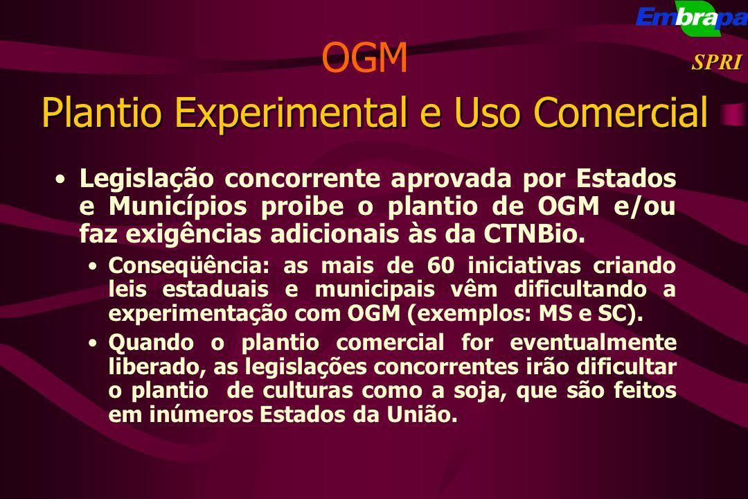 Plantio Experimental e Uso Comercial Legislação concorrente aprovada por Estados e Municípios proibe o plantio de OGM e/ou faz exigências adicionais à