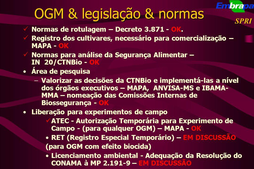 OGM & legislação & normas Normas de rotulagem – Decreto 3.871 - OK. Registro dos cultivares, necessário para comercialização – MAPA - OK Normas para a