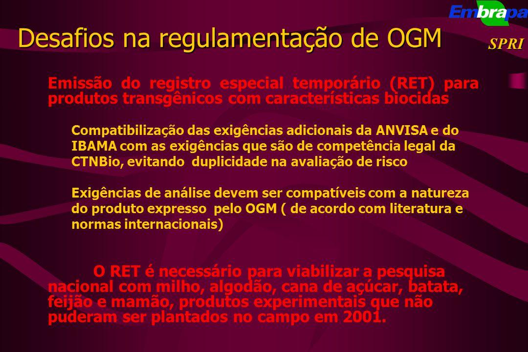 Emissão do registro especial temporário (RET) para produtos transgênicos com características biocidas Compatibilização das exigências adicionais da AN