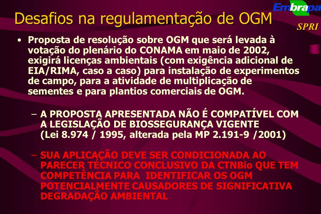 Proposta de resolução sobre OGM que será levada à votação do plenário do CONAMA em maio de 2002, exigirá licenças ambientais (com exigência adicional