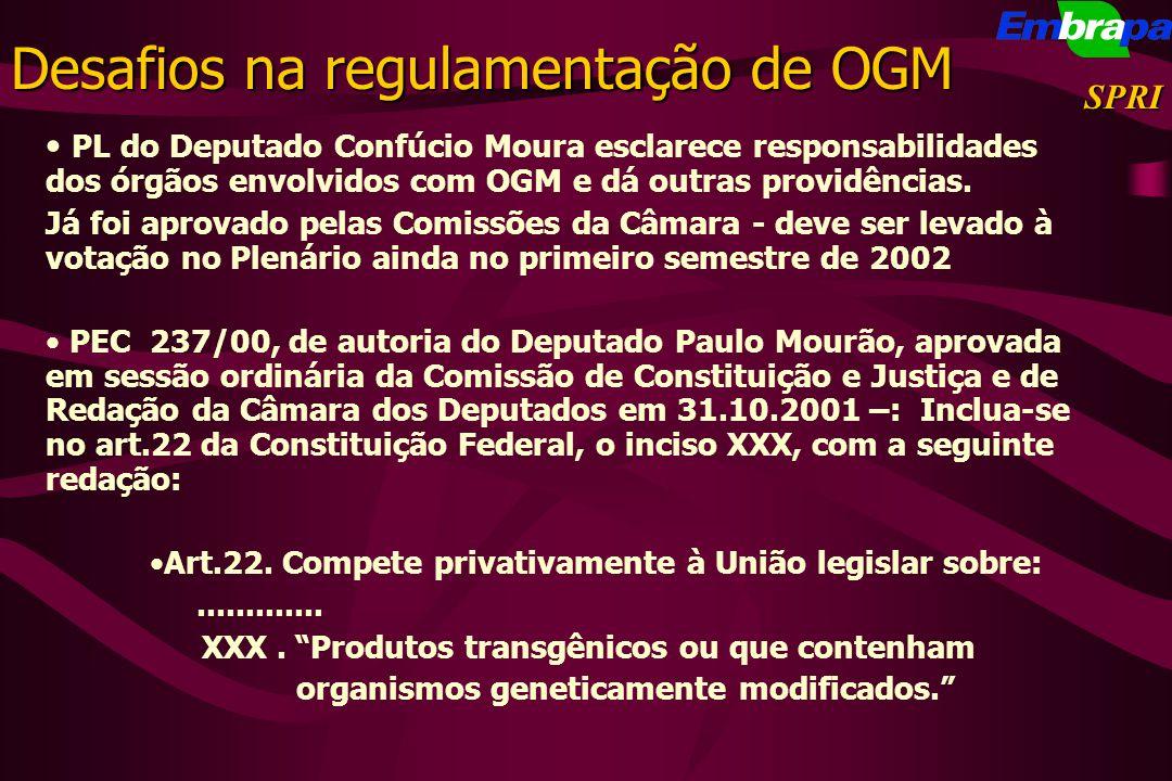 SPRI PL do Deputado Confúcio Moura esclarece responsabilidades dos órgãos envolvidos com OGM e dá outras providências. Já foi aprovado pelas Comissões