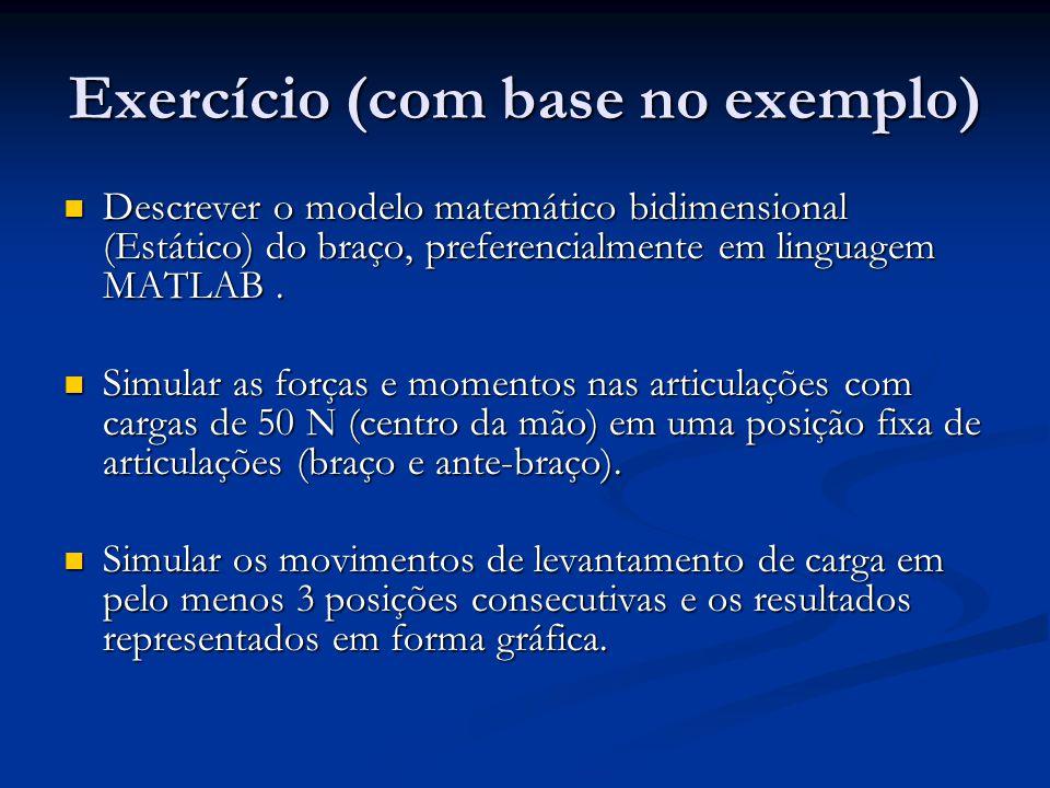 Exercício (com base no exemplo) Descrever o modelo matemático bidimensional (Estático) do braço, preferencialmente em linguagem MATLAB. Descrever o mo