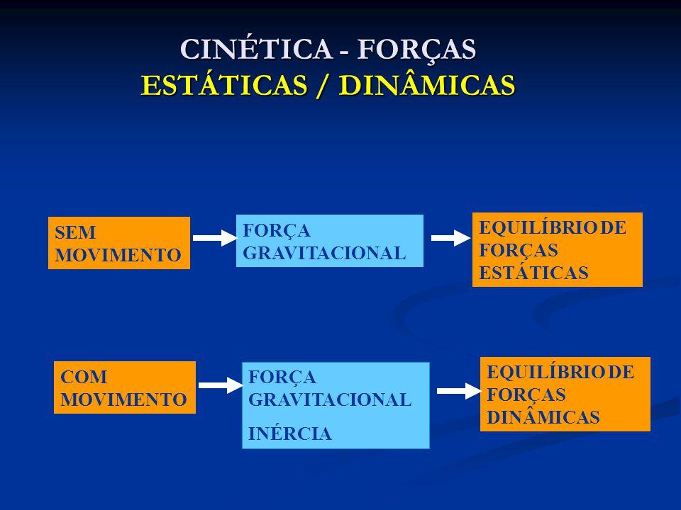 CINÉTICA - FORÇAS ESTÁTICAS / DINÂMICAS SEM MOVIMENTO FORÇA GRAVITACIONAL EQUILÍBRIO DE FORÇAS ESTÁTICAS COM MOVIMENTO FORÇA GRAVITACIONAL INÉRCIA EQU