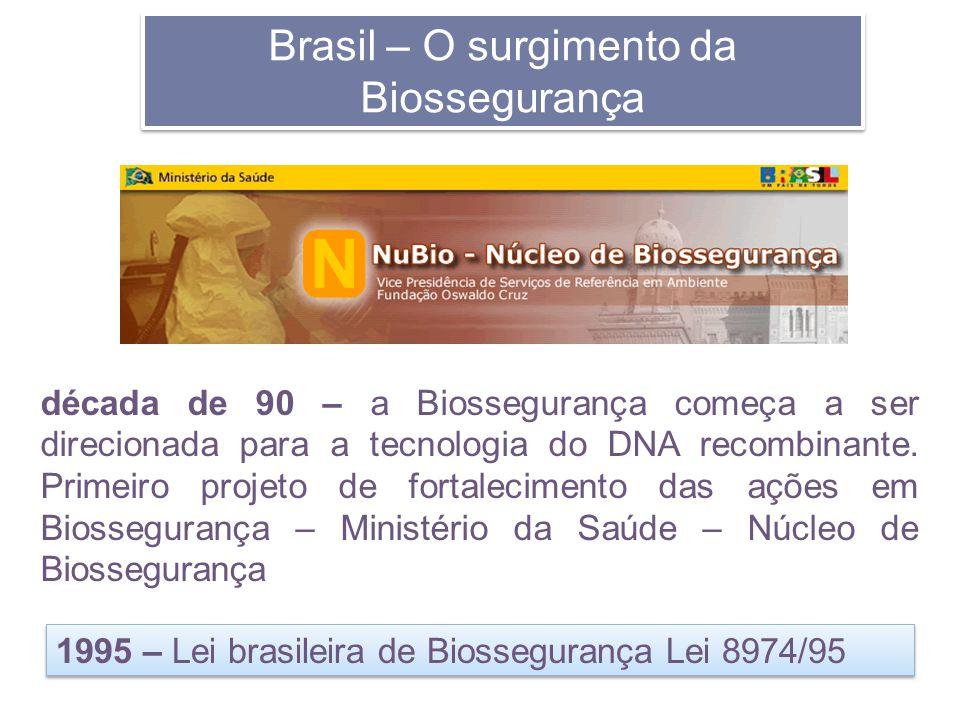 Brasil – O surgimento da Biossegurança década de 90 – a Biossegurança começa a ser direcionada para a tecnologia do DNA recombinante. Primeiro projeto