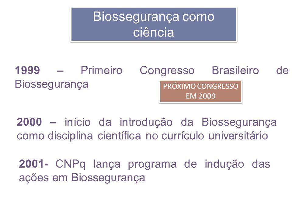 Biossegurança como ciência 1999 – Primeiro Congresso Brasileiro de Biossegurança 2000 – início da introdução da Biossegurança como disciplina científi