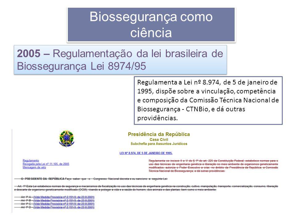 Regulamenta a Lei nº 8.974, de 5 de janeiro de 1995, dispõe sobre a vinculação, competência e composição da Comissão Técnica Nacional de Biossegurança