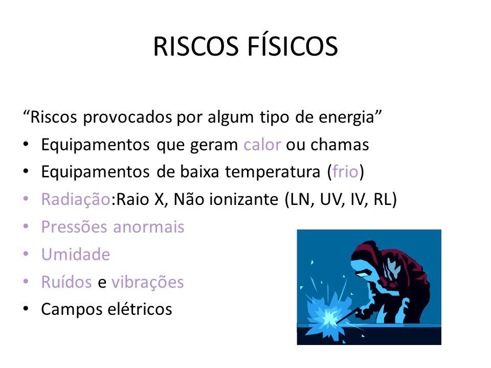 RISCOS FÍSICOS Riscos provocados por algum tipo de energia Equipamentos que geram calor ou chamas Equipamentos de baixa temperatura (frio) Radiação:Ra