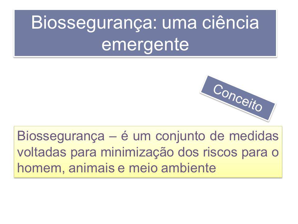 Biossegurança: uma ciência emergente Biossegurança – é um conjunto de medidas voltadas para minimização dos riscos para o homem, animais e meio ambien