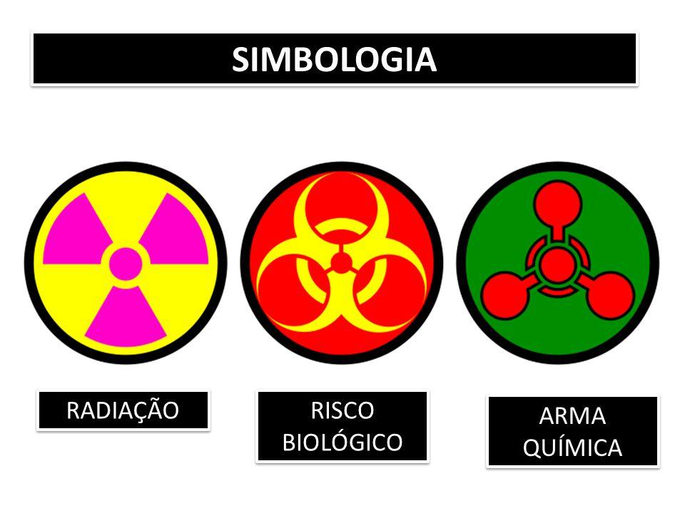 RADIAÇÃO RISCO BIOLÓGICO ARMA QUÍMICA SIMBOLOGIA