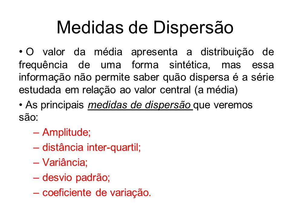 Medidas de Dispersão O valor da média apresenta a distribuição de frequência de uma forma sintética, mas essa informação não permite saber quão disper