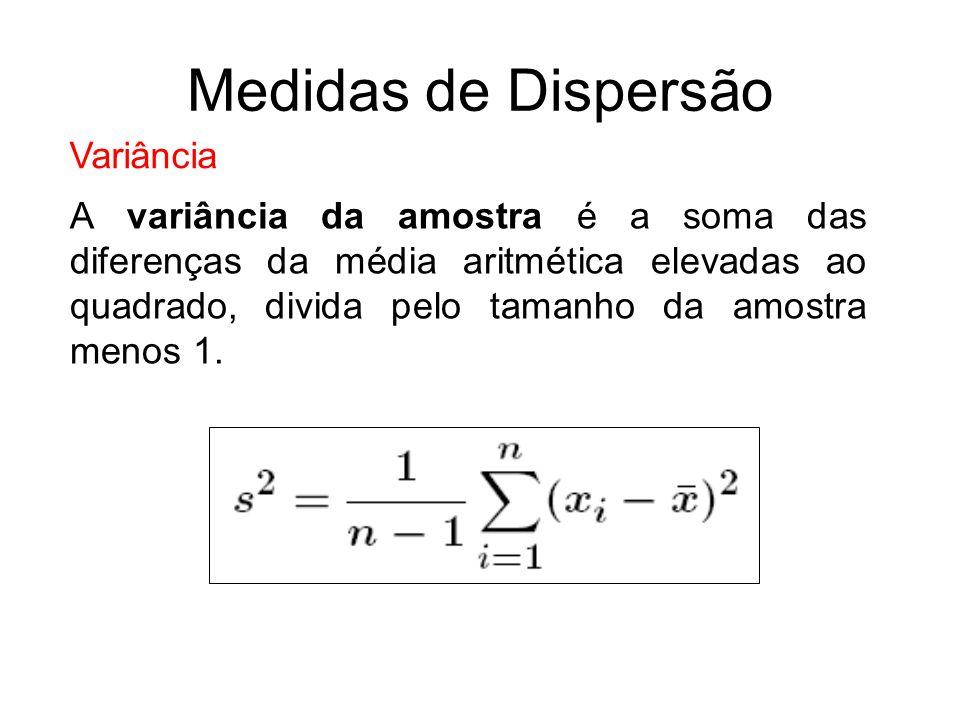 Variância A variância da amostra é a soma das diferenças da média aritmética elevadas ao quadrado, divida pelo tamanho da amostra menos 1. Medidas de