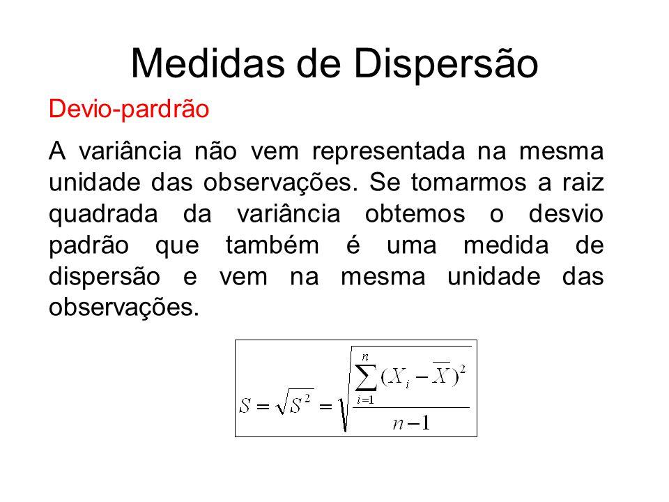 Devio-pardrão A variância não vem representada na mesma unidade das observações. Se tomarmos a raiz quadrada da variância obtemos o desvio padrão que