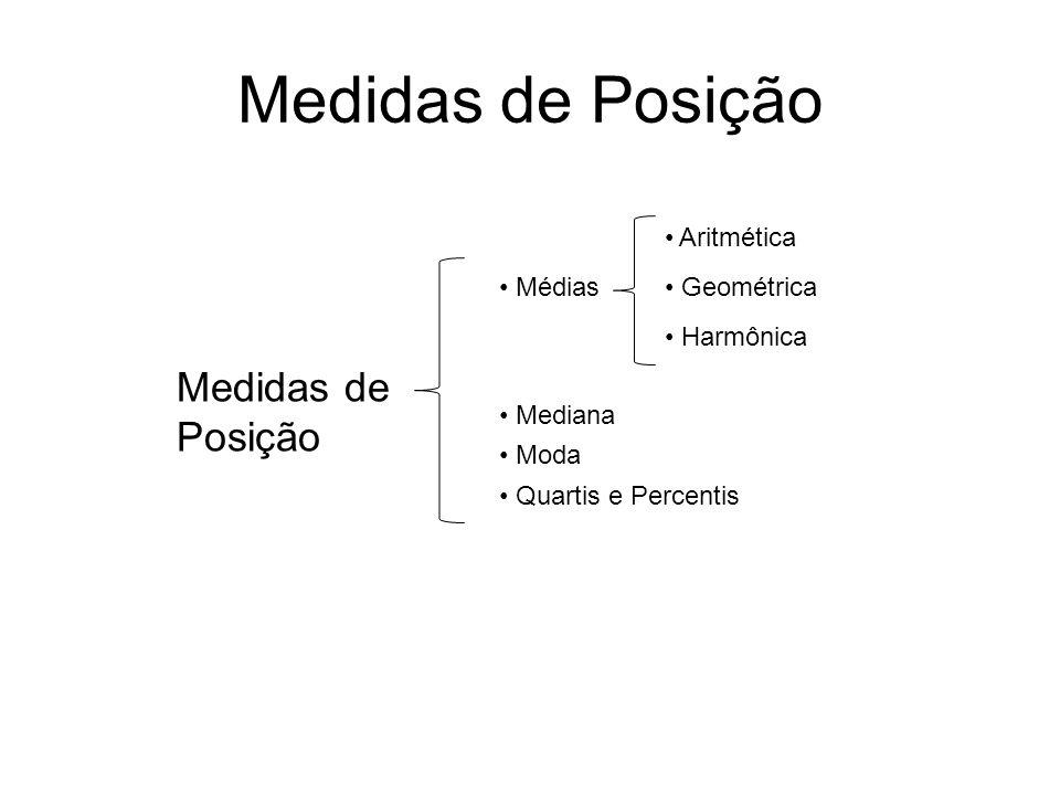 Medidas de Posição Médias Mediana Moda Quartis e Percentis Aritmética Geométrica Harmônica