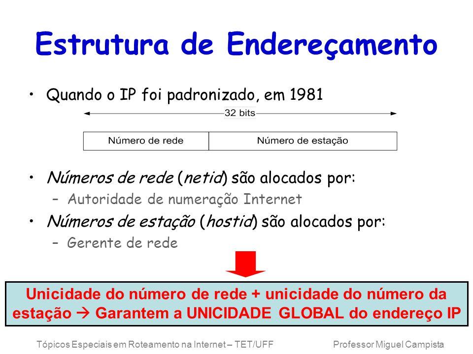 Tópicos Especiais em Roteamento na Internet – TET/UFF Professor Miguel Campista Estrutura de Endereçamento Quando o IP foi padronizado, em 1981 Números de rede (netid) são alocados por: –Autoridade de numeração Internet Números de estação (hostid) são alocados por: –Gerente de rede Unicidade do número de rede + unicidade do número da estação Garantem a UNICIDADE GLOBAL do endereço IP