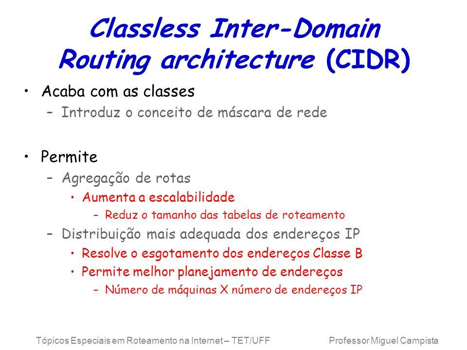 Tópicos Especiais em Roteamento na Internet – TET/UFF Professor Miguel Campista Classless Inter-Domain Routing architecture (CIDR) Acaba com as classes –Introduz o conceito de máscara de rede Permite –Agregação de rotas Aumenta a escalabilidade –Reduz o tamanho das tabelas de roteamento –Distribuição mais adequada dos endereços IP Resolve o esgotamento dos endereços Classe B Permite melhor planejamento de endereços –Número de máquinas X número de endereços IP