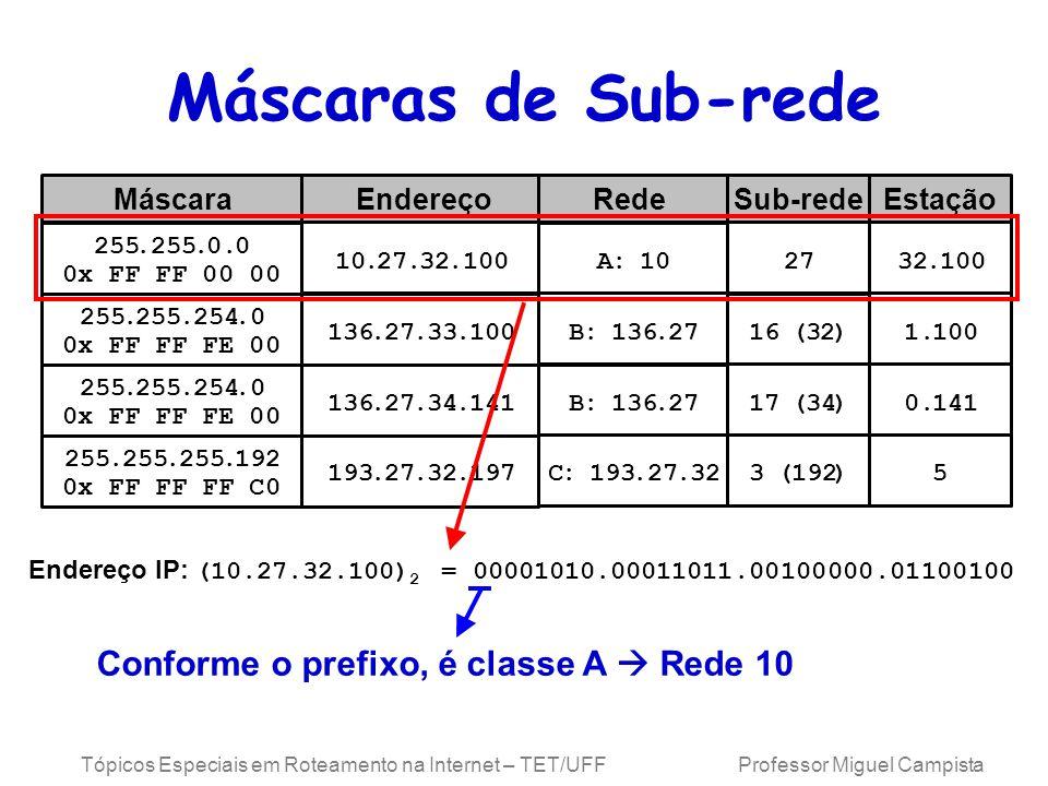 Tópicos Especiais em Roteamento na Internet – TET/UFF Professor Miguel Campista Máscaras de Sub-rede Rede 255..0.0 0x FF FF 00 00 MáscaraSub-rede 10.27.32.100 EndereçoEstação 255..254.0 0x FF FF FE 00 255..254.0 0x FF FF FE 00 255...192 0x FF FF FF C0 136.27.33.100 136.27.34.141 193.27.32.197 A:10 B:136.27 B:136.27 C:193.27.32 27 16(32) 17(34) 3(192) 32.100 1.