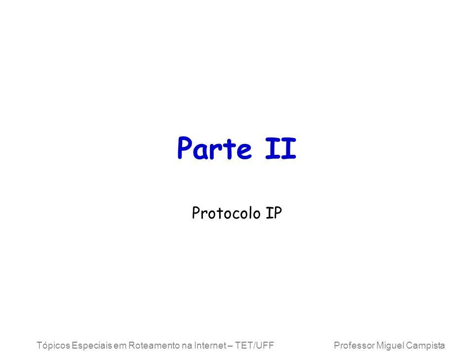 Tópicos Especiais em Roteamento na Internet – TET/UFF Professor Miguel Campista Campos do Cabeçalho IP Comprimento total (Total Length) (16 bits) –Comprimento total do pacote, incluindo o cabeçalho –Limita o tamanho do pacote a 65.535 bytes