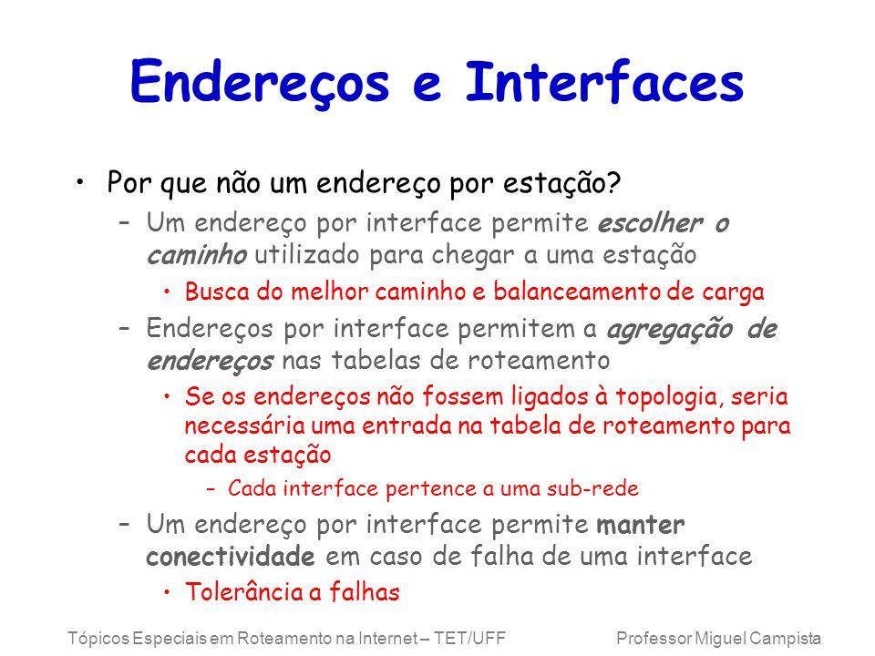 Tópicos Especiais em Roteamento na Internet – TET/UFF Professor Miguel Campista Endereços e Interfaces Por que não um endereço por estação.