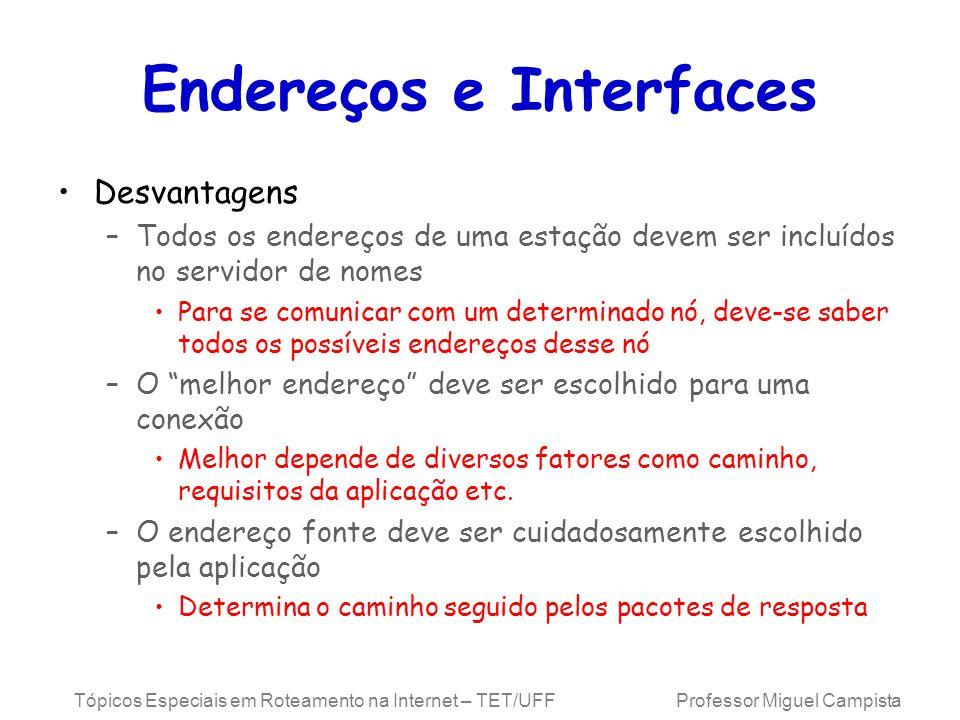 Tópicos Especiais em Roteamento na Internet – TET/UFF Professor Miguel Campista Endereços e Interfaces Desvantagens –Todos os endereços de uma estação