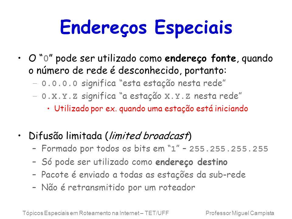 Tópicos Especiais em Roteamento na Internet – TET/UFF Professor Miguel Campista Endereços Especiais O 0 pode ser utilizado como endereço fonte, quando