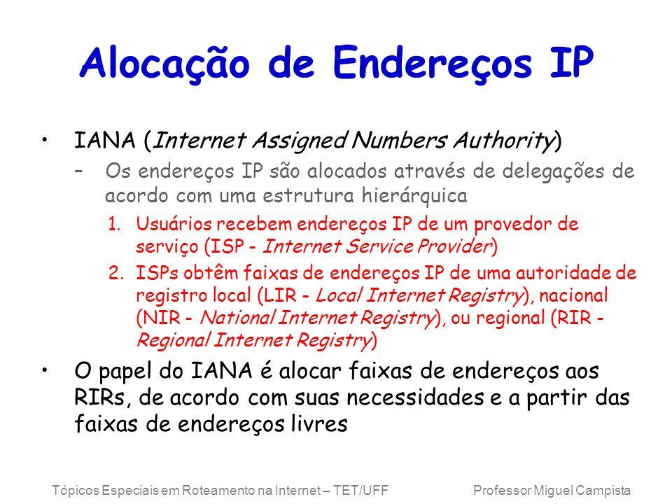 Tópicos Especiais em Roteamento na Internet – TET/UFF Professor Miguel Campista Alocação de Endereços IP IANA (Internet Assigned Numbers Authority) –O