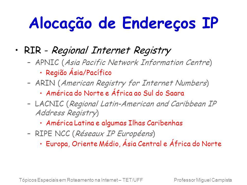 Tópicos Especiais em Roteamento na Internet – TET/UFF Professor Miguel Campista Alocação de Endereços IP RIR - Regional Internet Registry –APNIC (Asia
