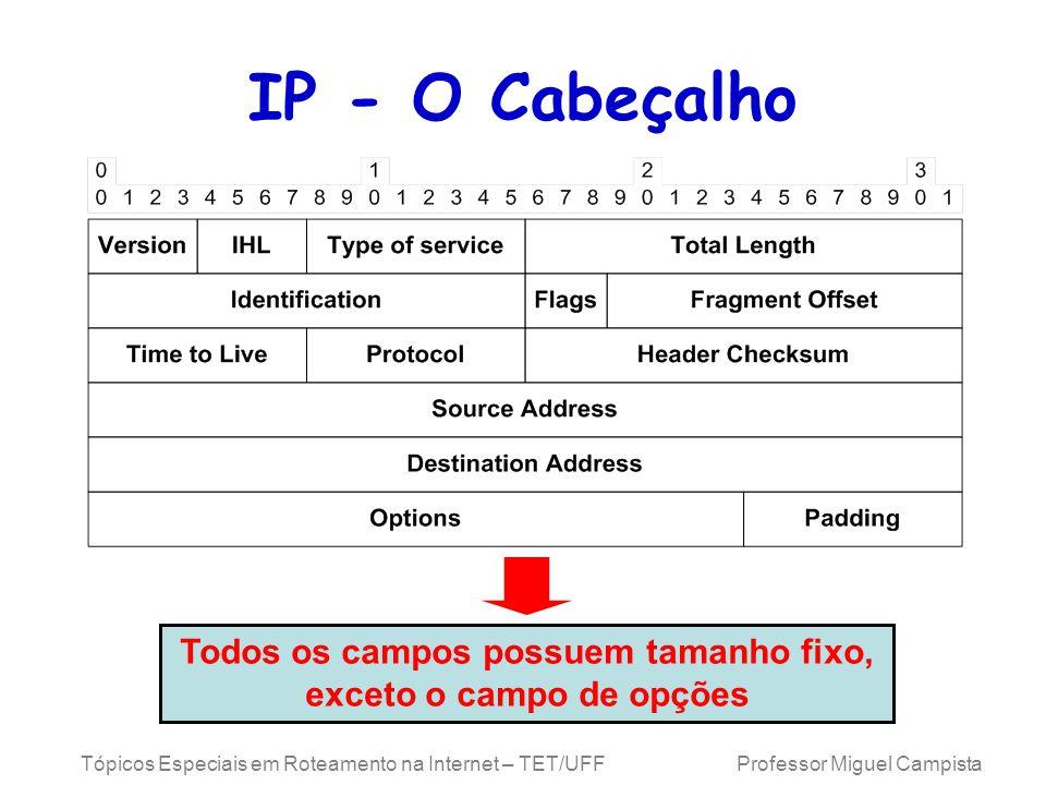 Tópicos Especiais em Roteamento na Internet – TET/UFF Professor Miguel Campista IP - O Cabeçalho Todos os campos possuem tamanho fixo, exceto o campo