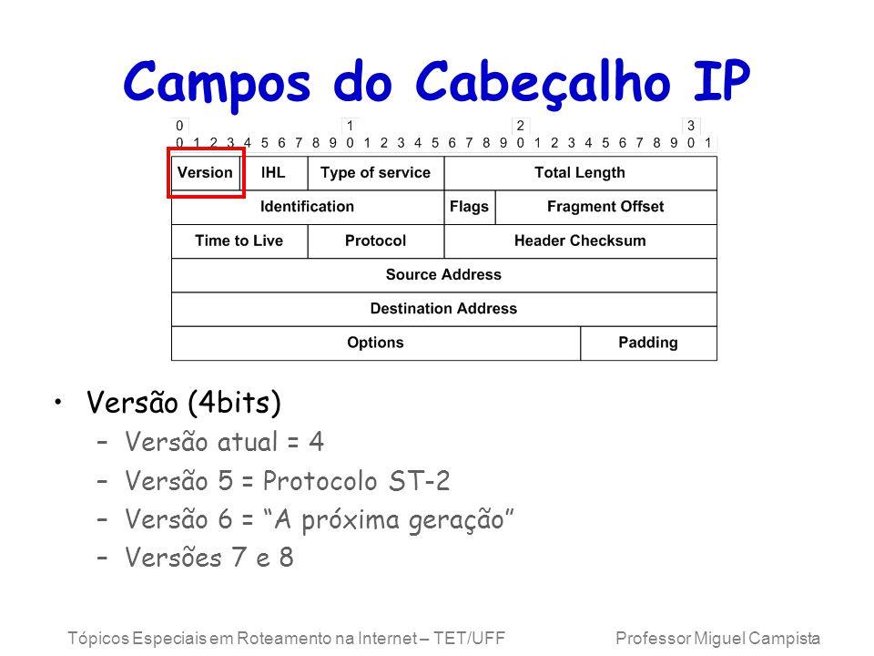 Tópicos Especiais em Roteamento na Internet – TET/UFF Professor Miguel Campista Campos do Cabeçalho IP Versão (4bits) –Versão atual = 4 –Versão 5 = Protocolo ST-2 –Versão 6 = A próxima geração –Versões 7 e 8