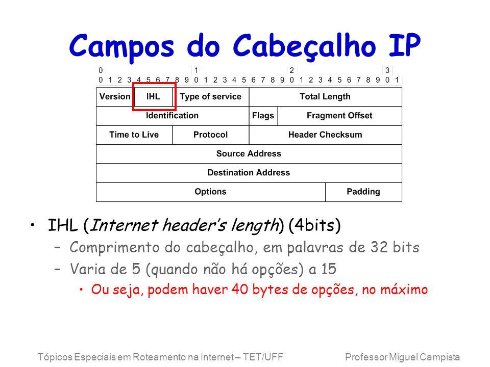 Tópicos Especiais em Roteamento na Internet – TET/UFF Professor Miguel Campista Campos do Cabeçalho IP IHL (Internet headers length) (4bits) –Comprimento do cabeçalho, em palavras de 32 bits –Varia de 5 (quando não há opções) a 15 Ou seja, podem haver 40 bytes de opções, no máximo